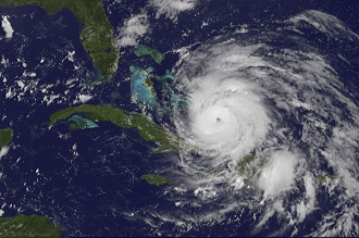A hurricane from a satellite