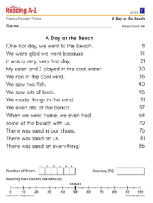 Fluency Practice Passages Reading A Z Queen A- Z Readers Reading Az Worksheets #1