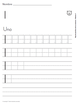 Spanish Print Number Formation Practice Sheets